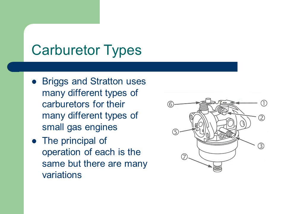 Carburetor Types Briggs and Stratton uses many different types of carburetors for their many different types of small gas engines.